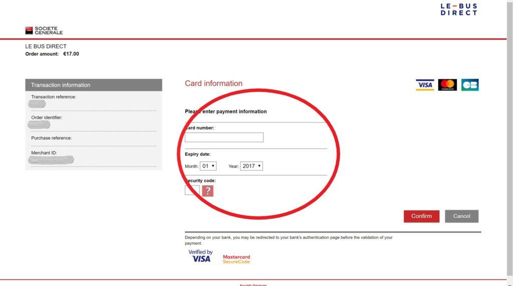 LE-BUS-DIRECTのカード情報入力画面