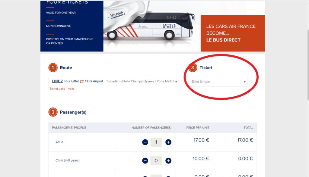 LE-BUS-DIRECTの予約画面