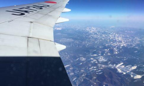 パリ行きの飛行機の機内からの景色