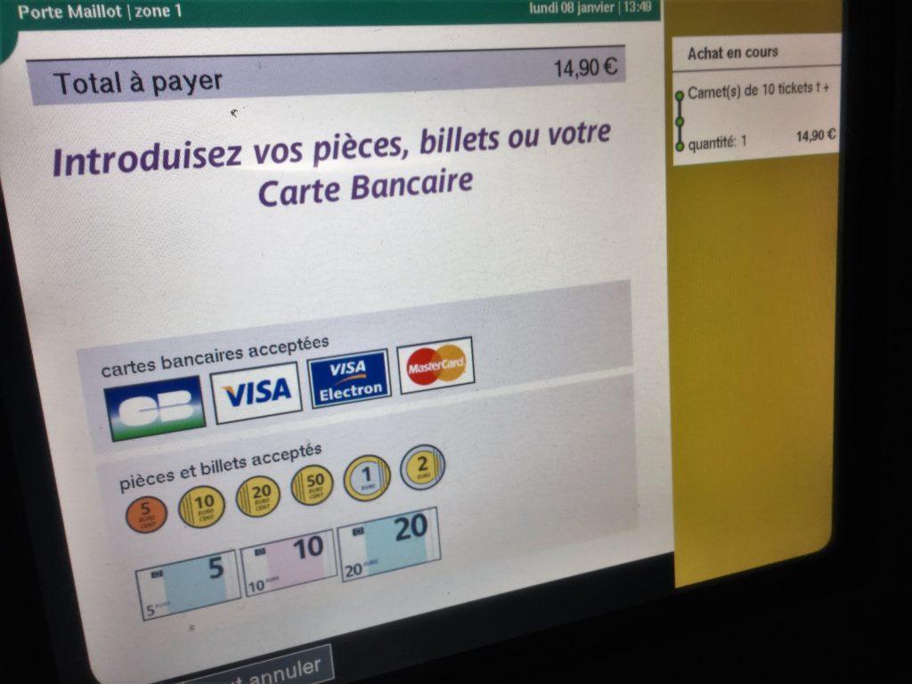 パリのメトロの券売機の支払手段選択画面