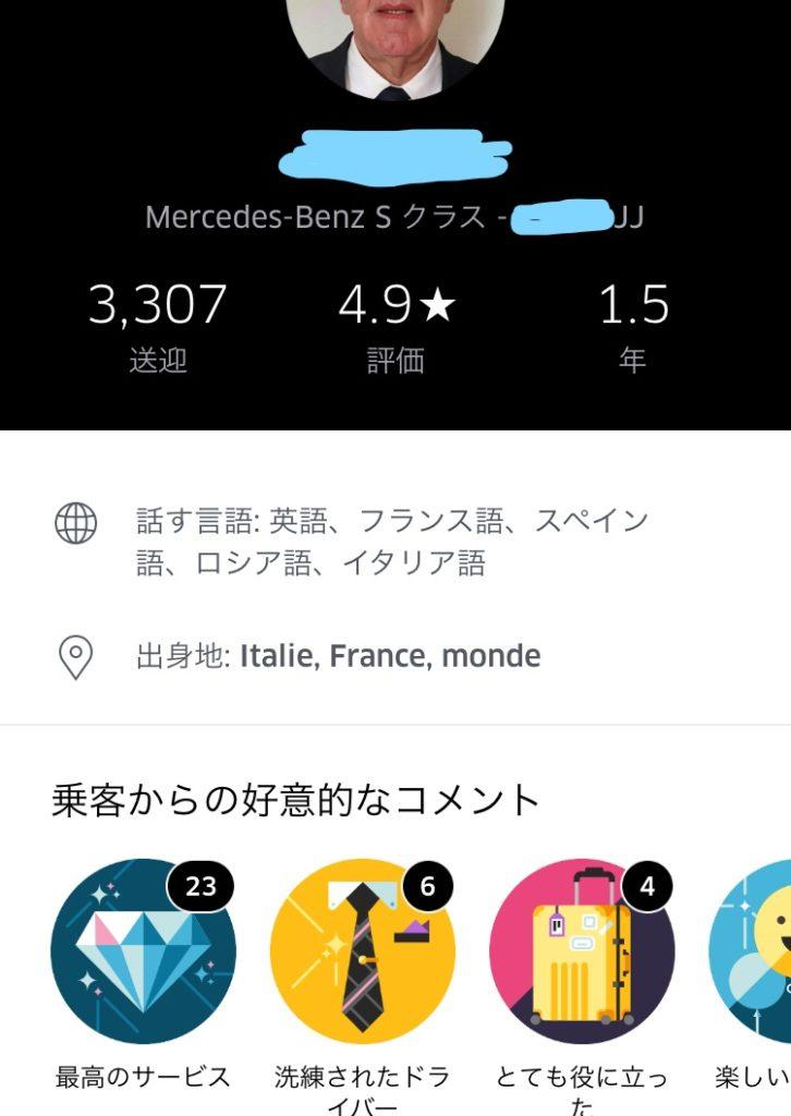 パリのウーバーのドライバー情報確認画面