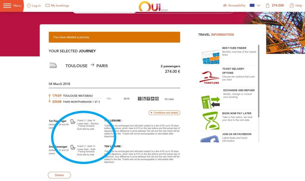 フランスのSNCFの座席確認画面