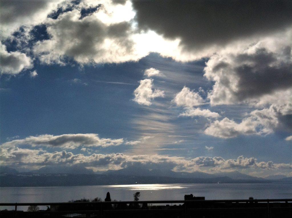 レマン湖の夕日