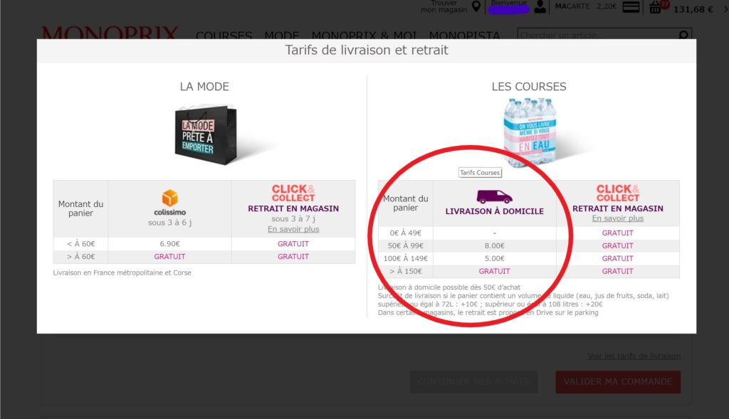 パリのスーパーモノプリの配達料金