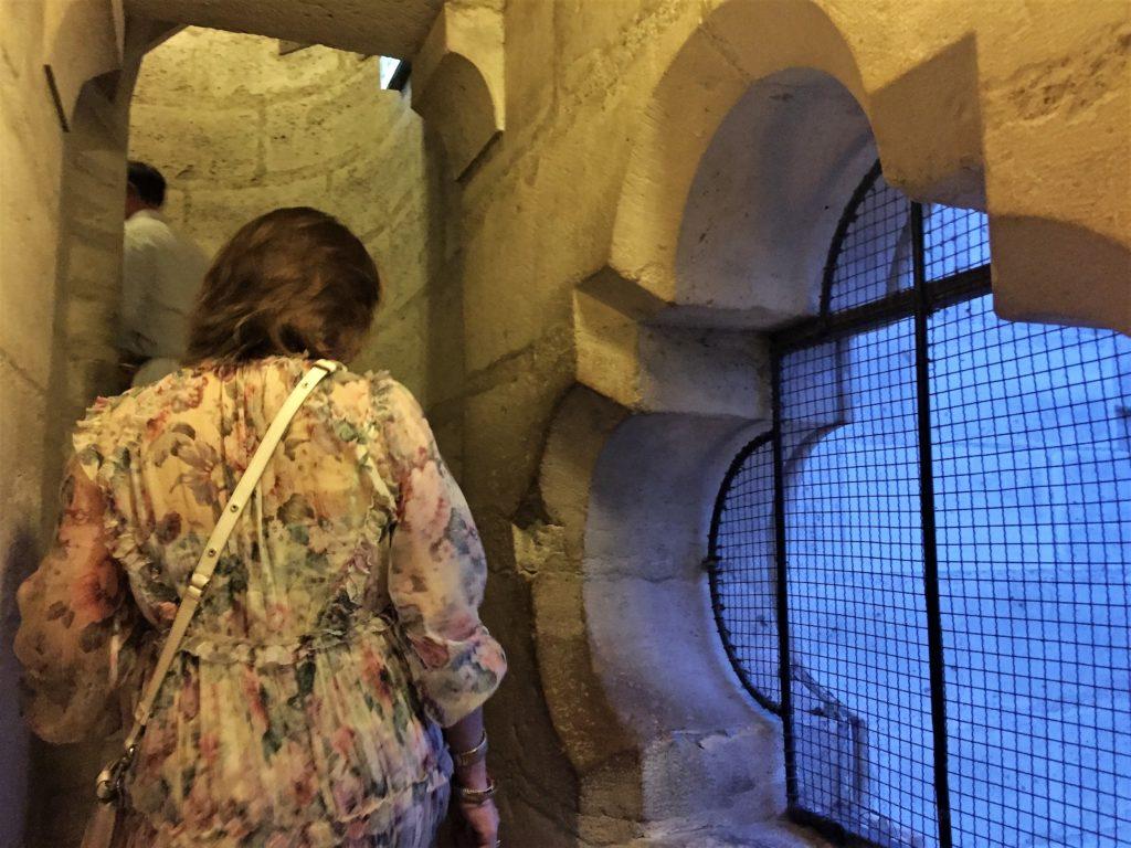 パリのノートルダム寺院の塔の螺旋階段