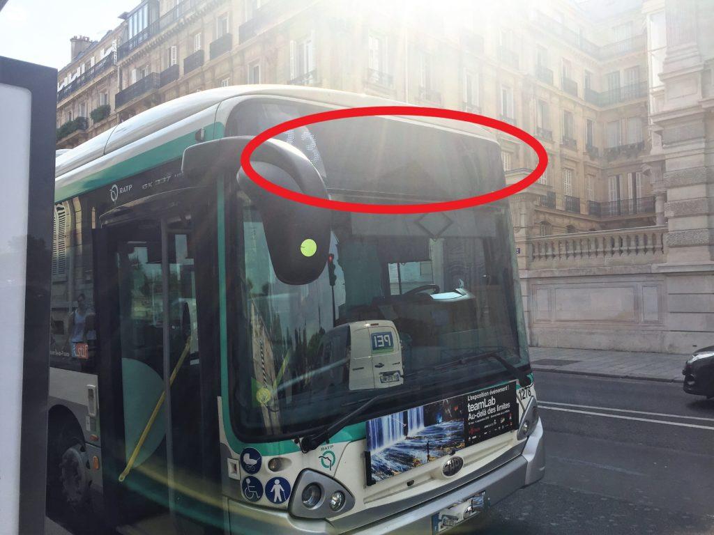 パリのバスの行き先表示