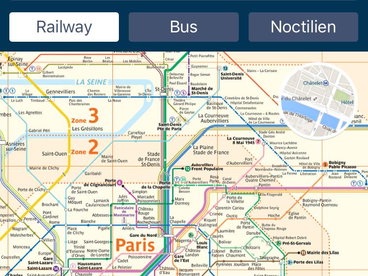 パリのメトロの路線図