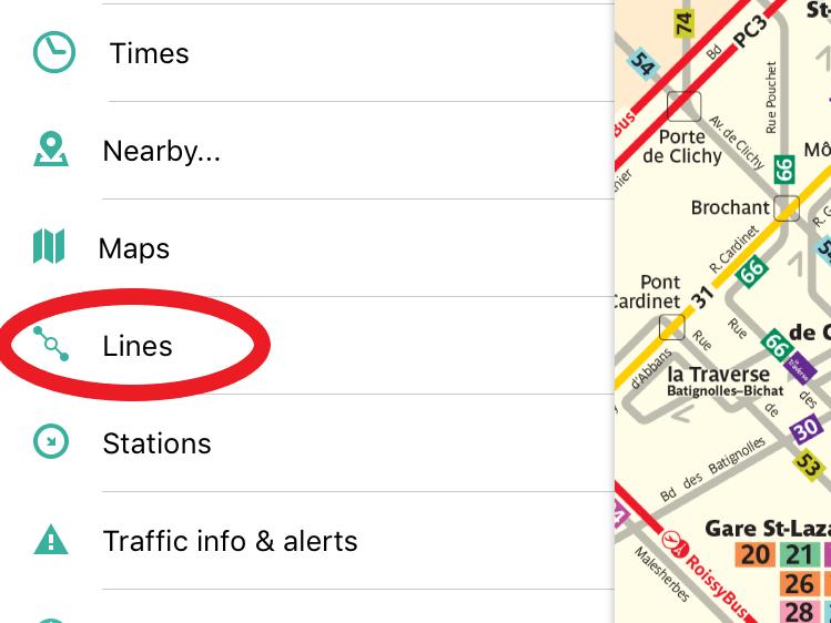 パリのバスの路線図検索