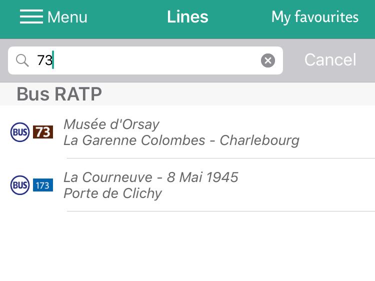 パリの73番線のバス路線検索