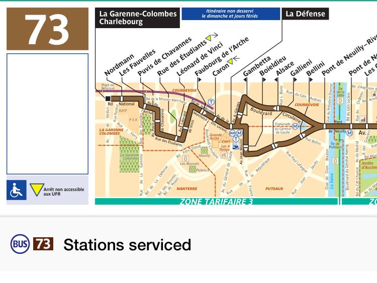 パリのバス73番の路線図